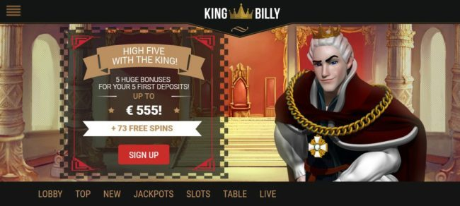 king billy casino sign up code